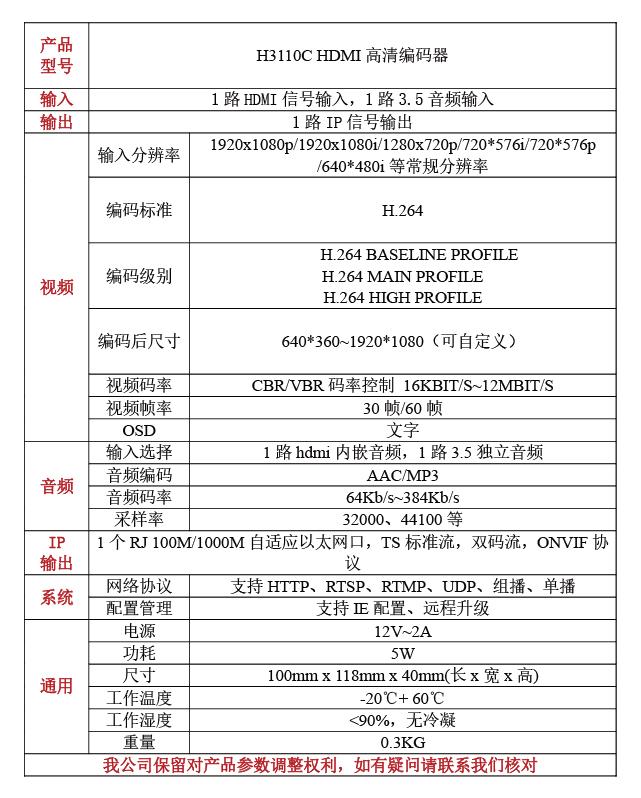 H3110C高清HDMI编码器
