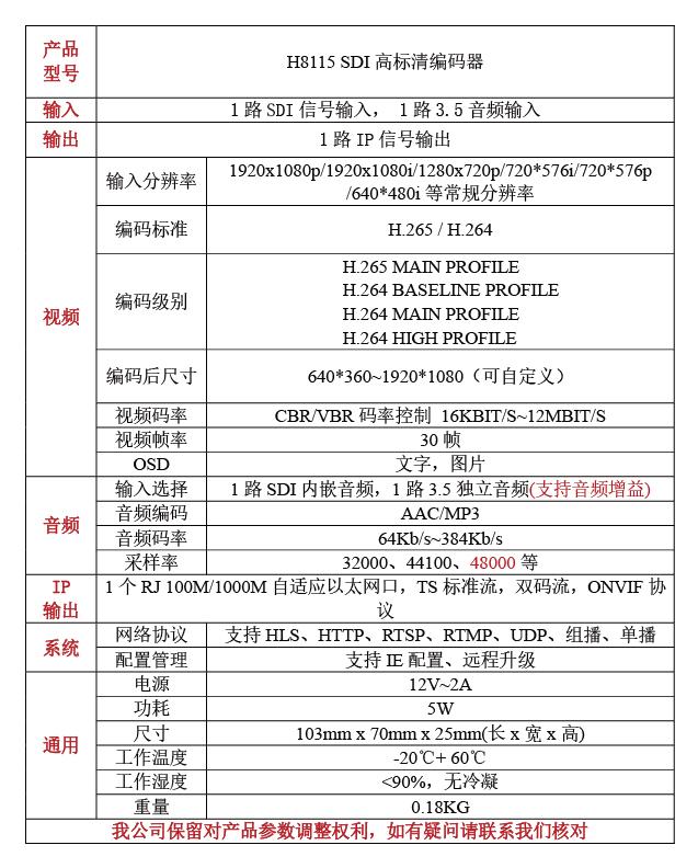 H8115高标清SDI音视频编码器