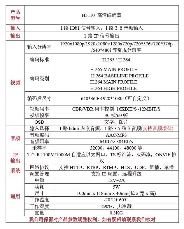 H5110高清HDMI编码器是专业的高清音视频编码