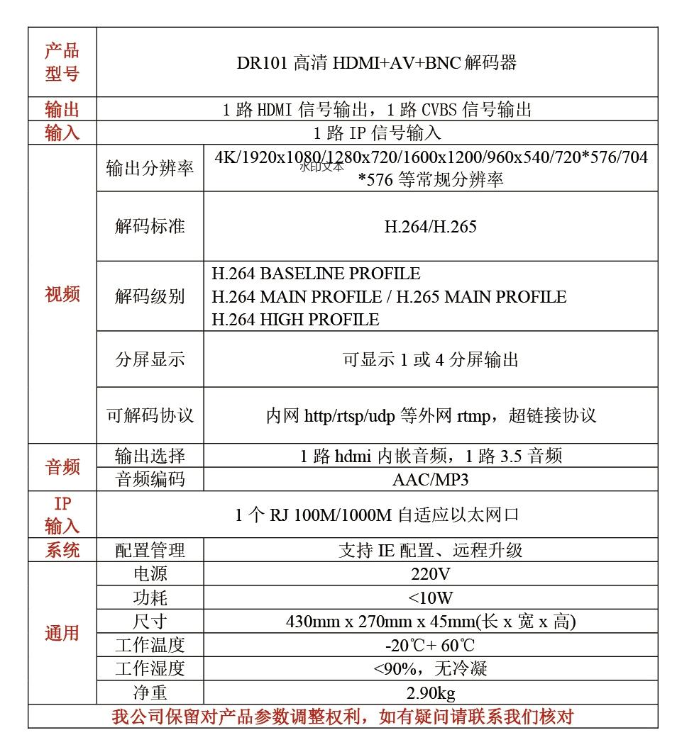 DR101高清HDMI+VGA解码器高清音视频解码