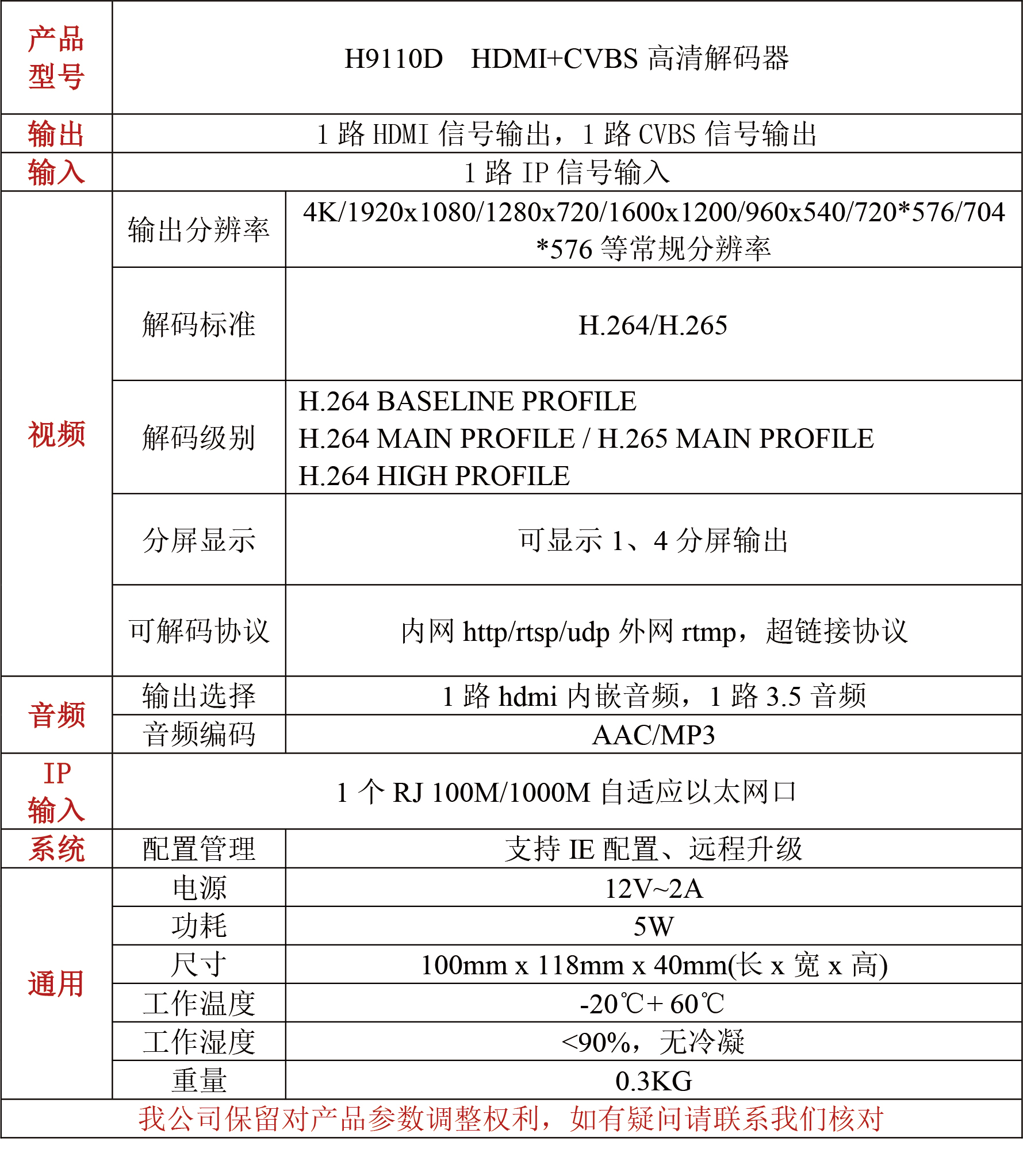 H9110D高清HDMI+VGA解码器高清音视频解码